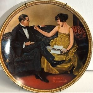 Vtg Norman Rockwell Plate Flirting In The Parlor